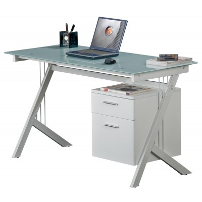 PC Desk with Two Drawers in Stainless Steel and Tempered Glass - Techly - ICA-TB 3365-2