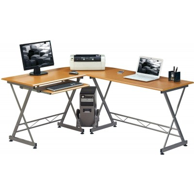 L Form Computer Desk with Removable Tray, Beech - Techly - ICA-TB 212-1