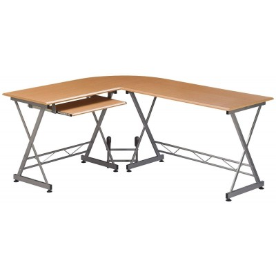 L Form Computer Desk with Removable Tray, Beech - Techly - ICA-TB 212-3