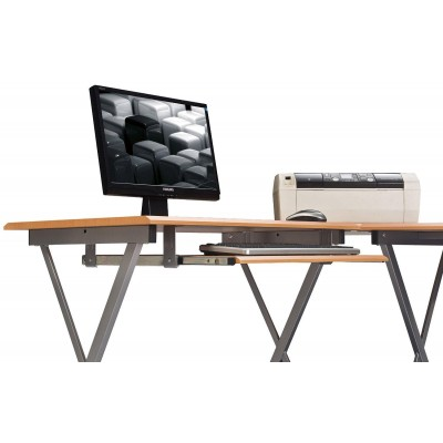 L Form Computer Desk with Removable Tray, Beech - Techly - ICA-TB 212-2