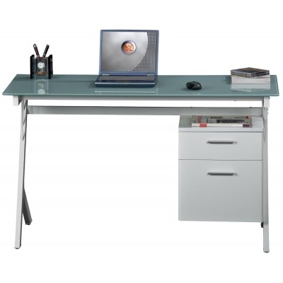PC Desk with Two Drawers in Stainless Steel and Tempered Glass - Techly - ICA-TB 3365-1