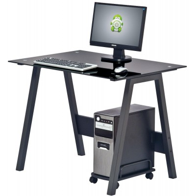 PC Desk with Glass Plan and CPU Holder, Color Black - Techly - ICA-TB 3359-1