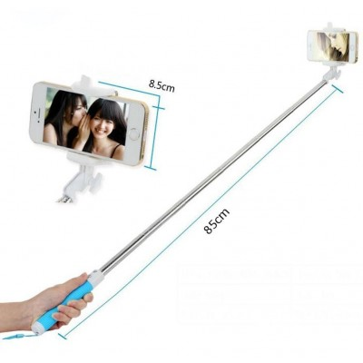 Mini Folding Monopod Telescopic SelfieStick for Smartphone with Cable - Techly - I-TRIPOD-SELFIE-SM-6