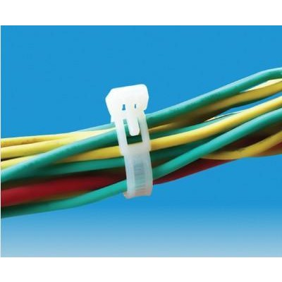 Cable Ties Clip Reusable 250x7,6mm with Tongue Nylon 100 pcs White - Techly - ISWT-876250-3