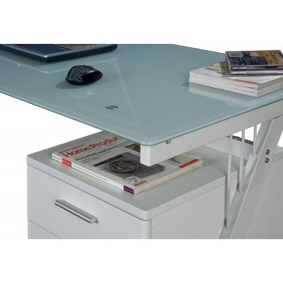 PC Desk with Two Drawers in Stainless Steel and Tempered Glass - Techly - ICA-TB 3365-3