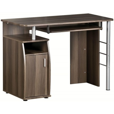 Compact Computer Desk with Four Shelves, Dark Walnut - Techly - ICA-TB 228-3