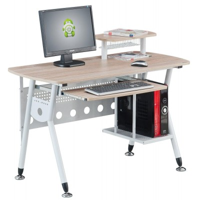 Computer Desk with Pullout Drawer Light Oak - Techly - ICA-TB 3783Q-1