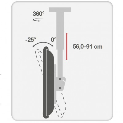 """Telescopic Ceiling Support up to 1m for LED LCD TV 23-42"""" - Techly - ICA-CPLB 922S-4"""