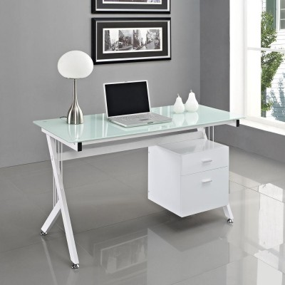 PC Desk with Two Drawers in Stainless Steel and Tempered Glass - Techly - ICA-TB 3365-5