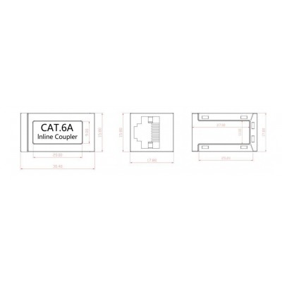 Inline Coupler 1:1 Cat.6A 10GE RJ45 STP, metal housing, ultra slim - Techly Professional - IWP-MD F/F-C6AT-1