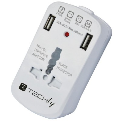 Universal Travel Adapter 2A for Electrical Sockets with 2 USB - Techly - IPW-ADAPTER6-1