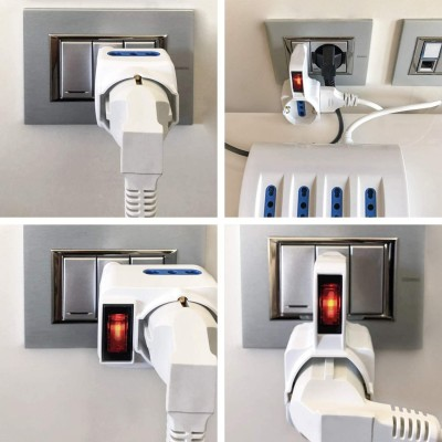 Adapter with 2 bypass sockets and 1 bypass / Schuko socket with 16A plug - Techly - IUPS-PCP-2RL-2