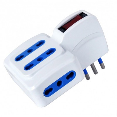 Adaptor with italian 10A plug and 4 dual-size sockets - Techly - IUPS-PCP-4ISP10-1