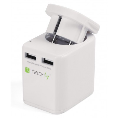 Travel Adapter 2 USB ports 2,4A White - Techly - I-TRAVEL-06TYWH-1