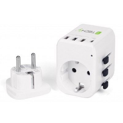 Travel Adapter 3 Port USB-A + 1 USB-C™ White - Techly - I-TRAVEL-07TYWH-1