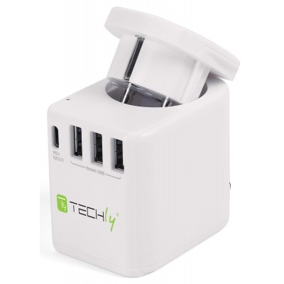 Travel Adapter 3 Port USB-A + 1 USB-C™ White - Techly - I-TRAVEL-07TYWH-2