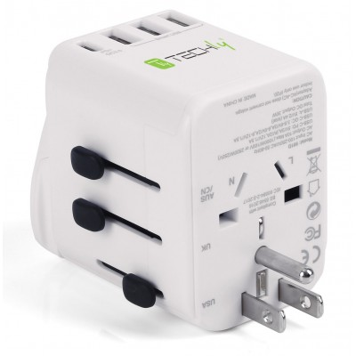 Travel Adapter 3 Port USB-A + 1 USB-C™ White - Techly - I-TRAVEL-07TYWH-4