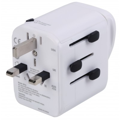 Travel Adapter 3 Port USB-A + 1 USB-C™ White - Techly - I-TRAVEL-07TYWH-6
