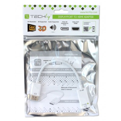 DisplayPort 1.2 Male / HDMI Female Active Adapter 15cm White - Techly - IADAP DP-HDMIF2-1