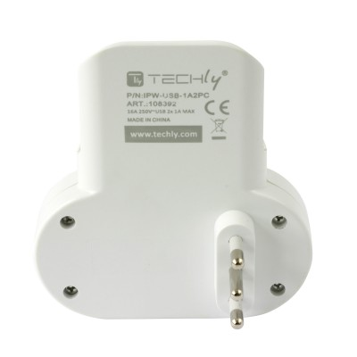 Adapter 2-socket / Schuko 2 USB 1A Socket with Smartphone Holder - Techly - IPW-USB-1A2PC-4