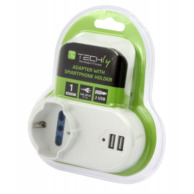 Adapter 2-socket / Schuko 2 USB 1A Socket with Smartphone Holder - Techly - IPW-USB-1A2PC-6