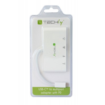 USB 3.1 type-C adapter to USB3.0 with HDMI, RJ45, type C connections - Techly - IADAP USB31-DOCK1-2