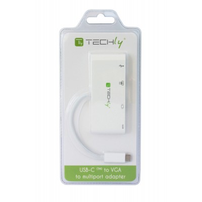 USB 3.1 Type-C adapter to USB3.0, with VGA, RJ45, Type-C connections - Techly - IADAP USB31-DOCK2-2