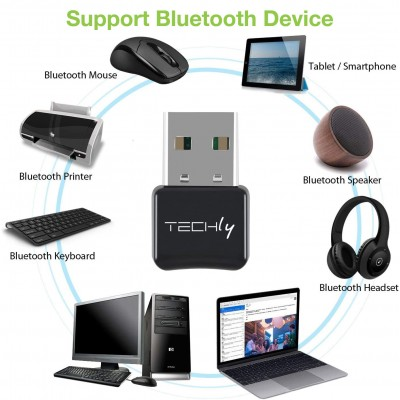 USB Dongle Adapter Bluetooth 5.0 Class 1.5 + EDR - Techly - IDATA USB-BLT5-1