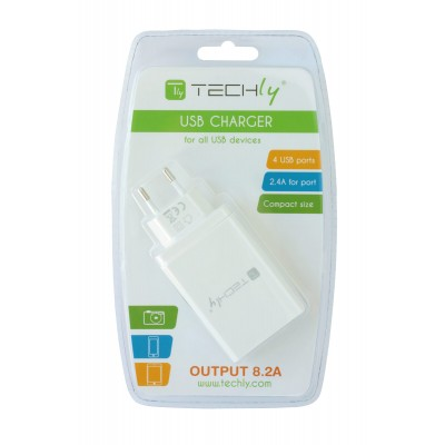 4 USB power charger, 8200 mA, White - Techly - IPW-USB-4P82-2