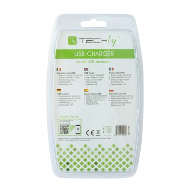 4 USB power charger, 8200 mA, White - Techly - IPW-USB-4P82-3