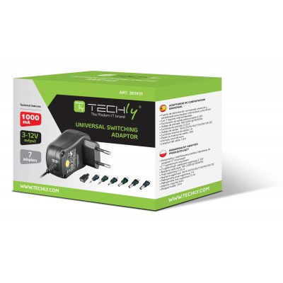 Adjustable Power Supply 1 Amp AC / DC Stabilized - Techly - IPW-NTS1000G-1