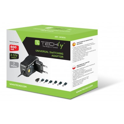 Adjustable Power Supply 600 mAh AC / DC Stabilized 7 Adapters - Techly - IPW-NTS600G-1