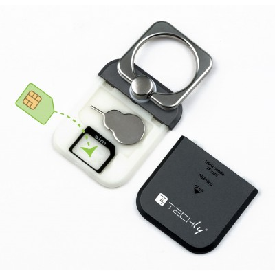 Smart ring and stand for Smartphone - Techly - I-SMART-RINGB-10