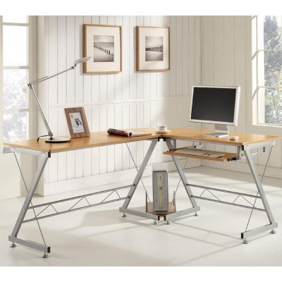 L Form Computer Desk with Removable Tray, Beech - Techly - ICA-TB 212-8