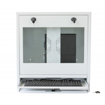 PC, LCD monitor and keyboard safety cabinet, White  - Techly Professional - ICRLIM10W-4