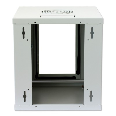 "Wall Rack Cabinet 10"" 6U Glass Door Grey - Techly Professional - I-CASE EM-1006GTY-4"