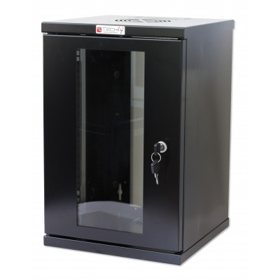 "Wall Rack Cabinet 10"" 9U Glass Door Black - Techly Professional - I-CASE EM-1009BKTY-1"
