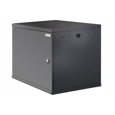 "Wall Rack 19"" Wall Mounted 13U single section D 600mm Black Blind Door - Techly Professional - I-CASE EW-2013BK6C-1"