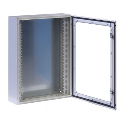 "Wall Rack Cabinet 19"" 17U IP65 with Glass Door Gray 200mm depth  - Techly Professional - I-CASE IP-1720GV-2"
