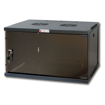 "19"" Wall Network Rack 6U Depth 600 Black Assembled - Techly Professional - I-CASE ER-1006B60-1"