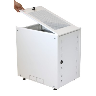 """19"""" Rack Cabinet Ideal for Photovoltaic Accumulators 8U P600mm White - Techly Professional - I-CASE EE-2008WH6-16"""
