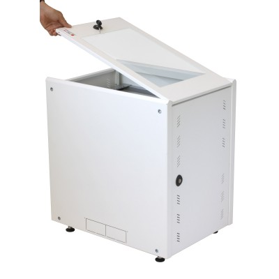 """19"""" Rack Cabinet Ideal for Photovoltaic Accumulators 8U P600mm White - Techly Professional - I-CASE EE-2008WH6-4"""