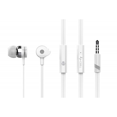 Stereo earphones with microphone White  - Techly - SB-HP A1WHTY-1