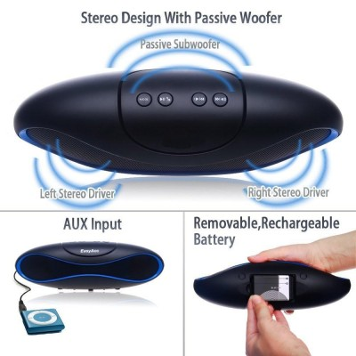 Portable Bluetooth Wireless Rugby Speaker MicroSD/TF Black/Blue - Techly - ICASBL04-8