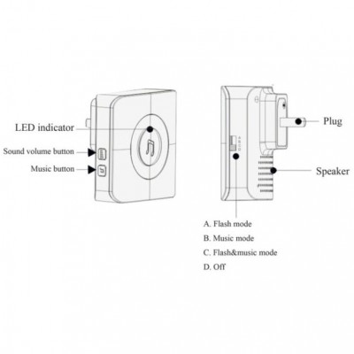 Wireless Doorbell up to 300m with Lithium Battery and Remote Control - Techly - I-BELL-RING02-5