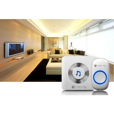 Wireless Doorbell up to 300m with Lithium Battery and Remote Control - Techly - I-BELL-RING02-8