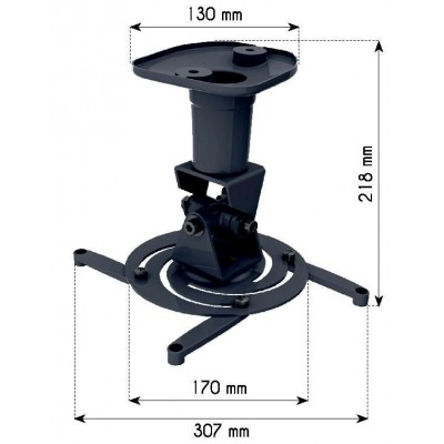 Universal Ceiling Bracket for Projector, Black - Techly - ICA-PM 100BK-2
