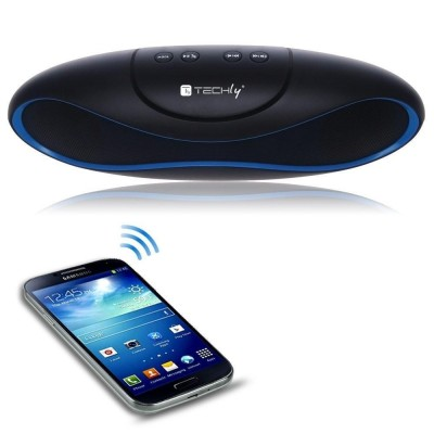 Portable Bluetooth Wireless Rugby Speaker MicroSD/TF Black/Blue - Techly - ICASBL04-5