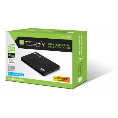 "HDD/SSD External Box 2.5"" SATA USB3.1 SuperSpeed Black - Techly - I-CASE SU31-25TY-1"