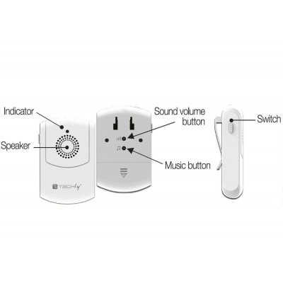 Vibration Wireless Doorbell up to 300m with Remote Control - Techly - I-BELL-RING03-6